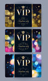 VIP cards with abstract bokeh background. Royalty Free Stock Images