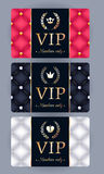 VIP cards with abstract quilted background Stock Images