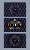 VIP cards with abstract quilted background Stock Image