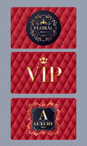 VIP cards with abstract red quilted background. VIP member discount cards with abstract red quilted background. Elegant beautiful classic design with luxury logo Royalty Free Stock Image