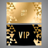 VIP cards. Black and golden design. Triangle Royalty Free Stock Photos