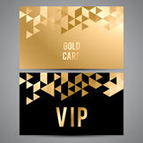 VIP cards. Black and golden design. Triangle Royalty Free Stock Image