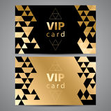 VIP cards. Black and golden design. Triangle Stock Image