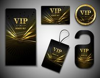 Vip cards set. Vip members only premium golden exclusive cards set isolated vector illustration Stock Images