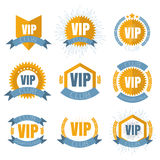 VIP club logos set in flat style. Vector illustation Royalty Free Stock Photos