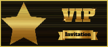 VIP club party premium invitation card flyer with star. Black and gold template. Stock Photos