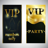 VIP club party premium invitation card poster flyer. Black and golden design template.  member card vector desig Royalty Free Stock Images