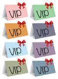 VIP colorful cards. Eight colorful cards with a VIP message in it. Vector illustration Royalty Free Stock Photo