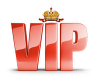 VIP concept. Shiny red lettering at the top of the crown with a VIP. 3d image. White background Royalty Free Stock Images
