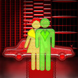 Vip Couple. Bright neon symbol of Vip couple standing on red carpet near expensive car in the modern city, decorative illustration Stock Image