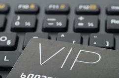 VIP credit card on black keyboard Stock Photos
