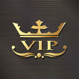 VIP logo crown in golden luxury background. Royalty Free Stock Images