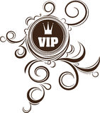 VIP decor with unusual round frame, crown and stylish floral ele Stock Image