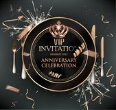 Vip dinner invitation card with cold confetti, plate and cutlery. Vector illustration vector illustration