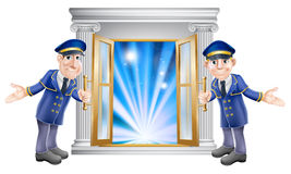 VIP doormen and entrance door. An illustration of two VIP doormen characters holding open a door at the entrance to a venue or hotel Stock Photos