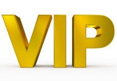 VIP dorato - lettere 3d isolate su bianco Immagine Stock