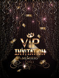 VIP elegant invitation card with gold curtains and confetti. Stock Image