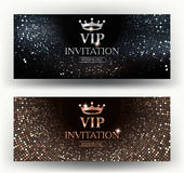 VIP elegant invitation cards with abstract background. Vector illustration Royalty Free Stock Image