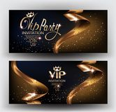 VIP elegant invitation cards with gold ribbons and gold dust. Vector illustration Royalty Free Stock Photo