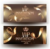 Vip elegant invitation cvards with gold beautiful ribbons and gold vintage elements. Vector illustration Stock Photo