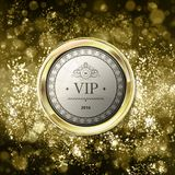 Vip emblem on abstract gold background with bokeh. Yellow and li. Ght brown blurred background with gold label. Vector illustration. Can be use for jewelry Stock Images