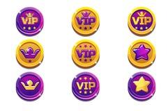 VIP et pièces de monnaie de couronne dans l'or et le noir illustration libre de droits