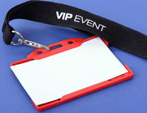 VIP event. An id badge for a VIP event on a blue background, focuse on the vip text stock photo