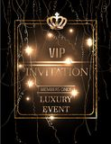 VIP event Invitation card with gold serpentine, crown and frame . Vector illustration Royalty Free Stock Photo