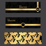 VIP gift certificate template. Black with golden color, ornaments, tag. Royalty Free Stock Photography