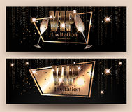VIP gold banners with serpentine  and glasses of champagne. Vector illustration Royalty Free Stock Photos