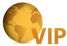 Vip gold globe illustration Royalty Free Stock Photography