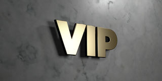Vip - Gold sign mounted on glossy marble wall - 3D rendered royalty free stock illustration. This image can be used for an online website banner ad or a print royalty free illustration