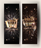 VIP gold vertical banners with serpentine  and glasses of champagne. Vector illustration Stock Image
