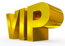 VIP golden - 3d letters isolated on white. Side view Royalty Free Stock Photo