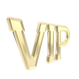 VIP golden emblem symbol isolated. Very important person golden VIP emblem symbol isolated on white Stock Image