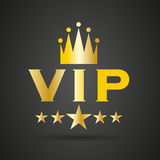 VIP. Golden VIP icon with crown Royalty Free Stock Photos