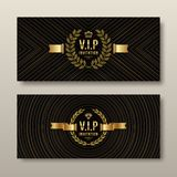 VIP golden invitation template. Type design with crown, laurel wreath and ribbon on a black pattern background Royalty Free Stock Photography