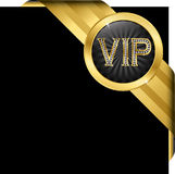 Vip golden label with diamonds and gold ribbons Stock Image