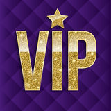 VIP golden letters with glitter on abstract quilted background, luxury card. Golden symbol of exclusivity. Very Stock Image