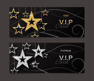VIP golden and platinum card template with shiny stars. Vector illustration. VIP golden and platinum card template with shiny stars. Vector illustration vector illustration