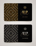 VIP golden and platinum card template vector illustration