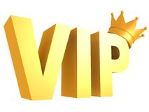 Vip golden text with crown Royalty Free Stock Photos