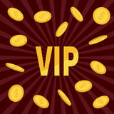 VIP. Golden text Flying dollar sign gold coin rain. Online casino, roulette, poker, slot machines, card games, gambling club banne Royalty Free Stock Image