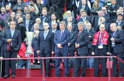 VIP guests of UEFA Europa League Final. WARSAW, POLAND - MAY 27, 2015: VIP guests of UEFA Europa League Final game Dnipro vs Sevilla: Michael Platini, Gianni Royalty Free Stock Image