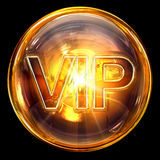 Vip icon fire. Vip icon fire, isolated on black background Stock Photos