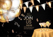 VIP INVITATION BANNER WITH GOLD DECO ELEMENTS AND PARTY OBJECTS. VECTOR ILLUSTRATION Royalty Free Stock Image