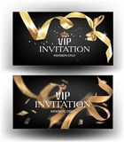 Vip invitation banners with curly gold ribbon. Vector illustration stock illustration