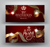 VIP  invitation banners with curly gold with royal print ribbons on the red background . Royalty Free Stock Image
