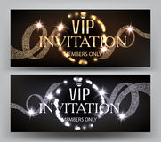 VIP Invitation banners with curly ribbons and  shiny light garland frame. Royalty Free Stock Photo