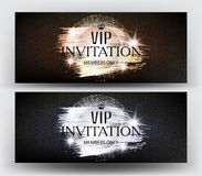 VIP Invitation banners with paint splashes and sparkling frame. Stock Photos